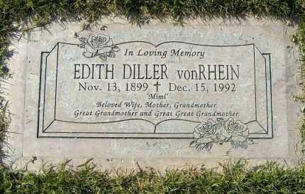 DILLER VONRHEIN, EDITH BEULAH - Maricopa County, Arizona   EDITH BEULAH DILLER VONRHEIN - Arizona Gravestone Photos