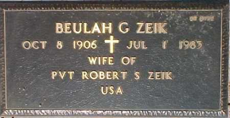 ZEIK, BEULAH G. - Maricopa County, Arizona | BEULAH G. ZEIK - Arizona Gravestone Photos