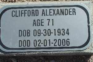 ALEXANDER, CLIFFORD - Mohave County, Arizona   CLIFFORD ALEXANDER - Arizona Gravestone Photos