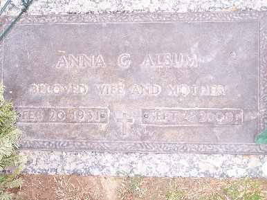 ALSUM, ANNA GERALDINE - Mohave County, Arizona | ANNA GERALDINE ALSUM - Arizona Gravestone Photos
