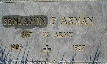 AXMAN, BENJAMIN F - Mohave County, Arizona | BENJAMIN F AXMAN - Arizona Gravestone Photos