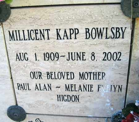 KAPP BOWLSBY, MILLICENT - Mohave County, Arizona | MILLICENT KAPP BOWLSBY - Arizona Gravestone Photos