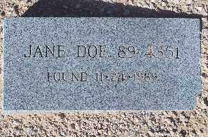 DOE, JANE #89-4351 - Mohave County, Arizona | JANE #89-4351 DOE - Arizona Gravestone Photos