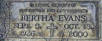 EVANS, BERTHA - Mohave County, Arizona | BERTHA EVANS - Arizona Gravestone Photos