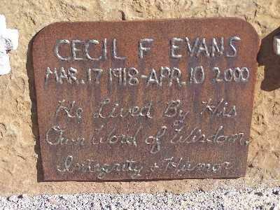 EVANS, CECIL F - Mohave County, Arizona   CECIL F EVANS - Arizona Gravestone Photos