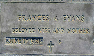 EVANS, FRANCES A - Mohave County, Arizona | FRANCES A EVANS - Arizona Gravestone Photos