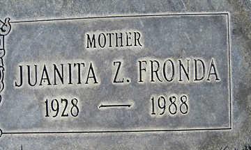 FRONDA, JUANITA Z - Mohave County, Arizona   JUANITA Z FRONDA - Arizona Gravestone Photos