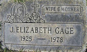 GAGE, J. ELIZABETH - Mohave County, Arizona | J. ELIZABETH GAGE - Arizona Gravestone Photos