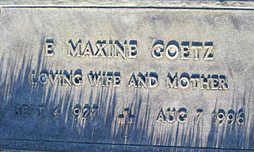 GOETZ, E. MAXINE - Mohave County, Arizona | E. MAXINE GOETZ - Arizona Gravestone Photos