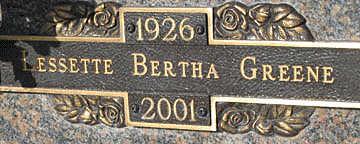 GREENE, LESSETTE BERTHA - Mohave County, Arizona   LESSETTE BERTHA GREENE - Arizona Gravestone Photos