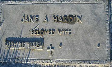 HARDIN, JANE A - Mohave County, Arizona | JANE A HARDIN - Arizona Gravestone Photos