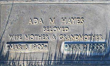 HAYES, ADA M - Mohave County, Arizona | ADA M HAYES - Arizona Gravestone Photos