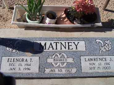 MATNEY, ELENORA I. - Mohave County, Arizona | ELENORA I. MATNEY - Arizona Gravestone Photos