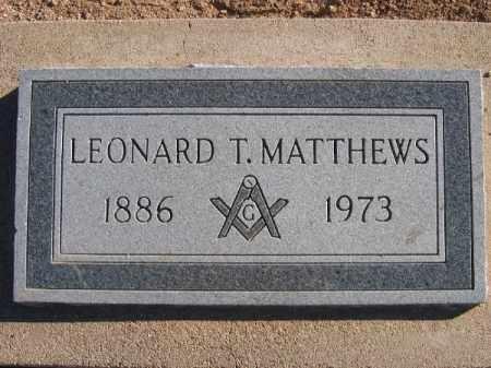 MATTHEWS, LEONARD T. - Mohave County, Arizona | LEONARD T. MATTHEWS - Arizona Gravestone Photos