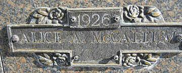 MCCALLUM, ALICE A - Mohave County, Arizona | ALICE A MCCALLUM - Arizona Gravestone Photos
