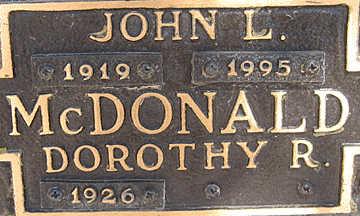 MCDONALD, JOHN L - Mohave County, Arizona   JOHN L MCDONALD - Arizona Gravestone Photos