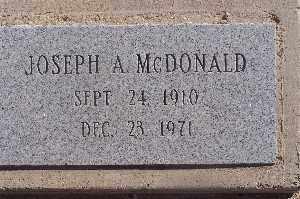 MCDONALD, JOSEPH A - Mohave County, Arizona   JOSEPH A MCDONALD - Arizona Gravestone Photos