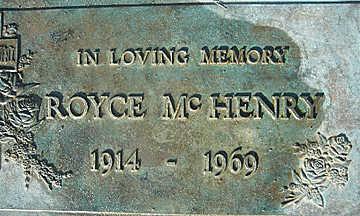 MCHENRY, ROYCE MERRIL - Mohave County, Arizona   ROYCE MERRIL MCHENRY - Arizona Gravestone Photos