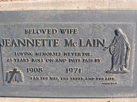 MCLAIN, JEANNETTE - Mohave County, Arizona | JEANNETTE MCLAIN - Arizona Gravestone Photos
