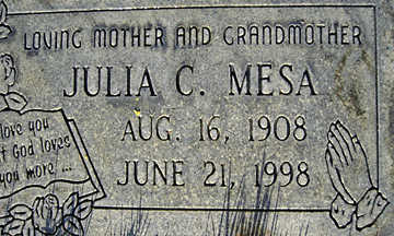 MESA, JULIA C - Mohave County, Arizona | JULIA C MESA - Arizona Gravestone Photos