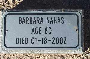 NAHAS, BARBARA - Mohave County, Arizona | BARBARA NAHAS - Arizona Gravestone Photos