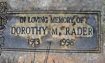 RADER, DOROTHY M - Mohave County, Arizona   DOROTHY M RADER - Arizona Gravestone Photos