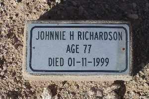RICHARDSON, JOHNNIE H - Mohave County, Arizona | JOHNNIE H RICHARDSON - Arizona Gravestone Photos