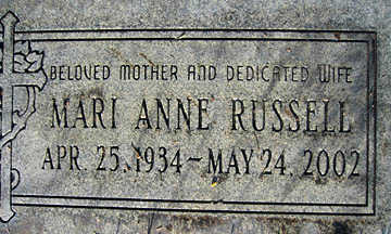 RUSSELL, MARIE ANNE - Mohave County, Arizona | MARIE ANNE RUSSELL - Arizona Gravestone Photos