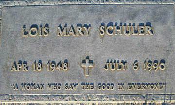 SCHULER, LOIS MARY - Mohave County, Arizona   LOIS MARY SCHULER - Arizona Gravestone Photos