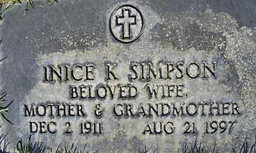 SIMPSON, INICE K - Mohave County, Arizona | INICE K SIMPSON - Arizona Gravestone Photos