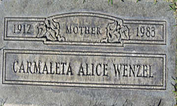 WENZEL, CARMALETA ALICE - Mohave County, Arizona | CARMALETA ALICE WENZEL - Arizona Gravestone Photos
