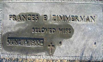 ZIMMERMAN, FRANCES E - Mohave County, Arizona | FRANCES E ZIMMERMAN - Arizona Gravestone Photos