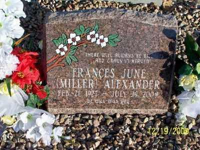 MILLER ALEXANDER, FRANCES JUNE - Pinal County, Arizona   FRANCES JUNE MILLER ALEXANDER - Arizona Gravestone Photos