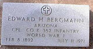 BERGMANN, EDWARD H. - Pinal County, Arizona | EDWARD H. BERGMANN - Arizona Gravestone Photos