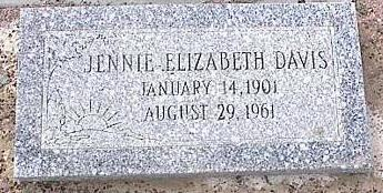 DAVIS, JENNIE ELIZABETH - Pinal County, Arizona   JENNIE ELIZABETH DAVIS - Arizona Gravestone Photos