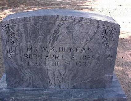 DUNCAN, W.K. - Pinal County, Arizona | W.K. DUNCAN - Arizona Gravestone Photos