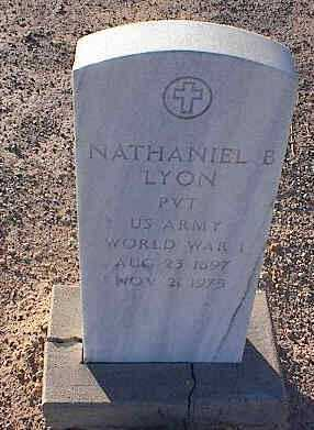 LYON, NATHANIEL B. - Pinal County, Arizona | NATHANIEL B. LYON - Arizona Gravestone Photos