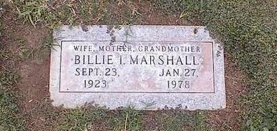 MARSHALL, BILLIE I. - Pinal County, Arizona | BILLIE I. MARSHALL - Arizona Gravestone Photos