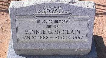 MCCLAIN, MINNIE G. - Pinal County, Arizona | MINNIE G. MCCLAIN - Arizona Gravestone Photos