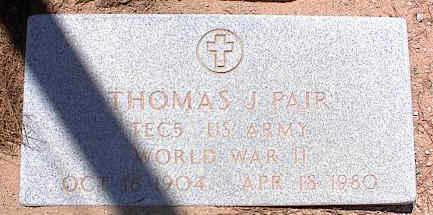 PAIR, THOMAS J. - Pinal County, Arizona   THOMAS J. PAIR - Arizona Gravestone Photos