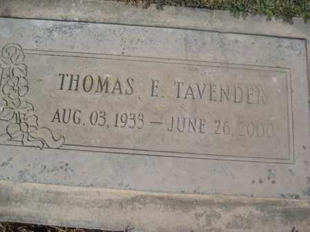TAVENDER, THOMAS E. - Pinal County, Arizona   THOMAS E. TAVENDER - Arizona Gravestone Photos