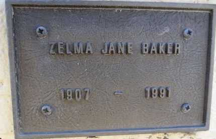BAKER, ZELMA JANE - Yavapai County, Arizona | ZELMA JANE BAKER - Arizona Gravestone Photos