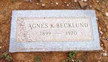 BECKLUND, AGNES K. - Yavapai County, Arizona | AGNES K. BECKLUND - Arizona Gravestone Photos