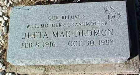 DEDMON, JETTA MAE - Yavapai County, Arizona | JETTA MAE DEDMON - Arizona Gravestone Photos