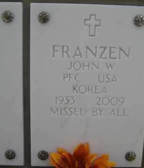 FRANZEN, JOHN W - Yavapai County, Arizona | JOHN W FRANZEN - Arizona Gravestone Photos