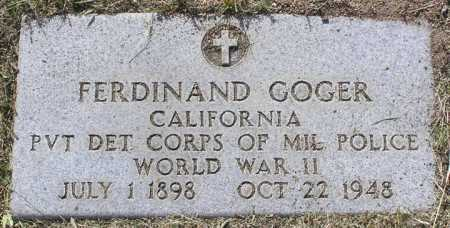 GOGER, FERDINAND FRANK - Yavapai County, Arizona | FERDINAND FRANK GOGER - Arizona Gravestone Photos