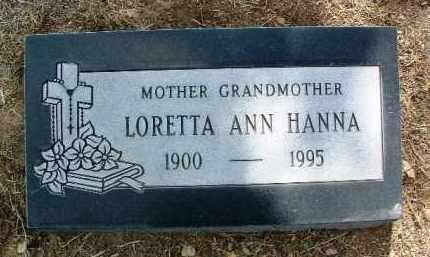HANNA, LORETTA ANN - Yavapai County, Arizona | LORETTA ANN HANNA - Arizona Gravestone Photos