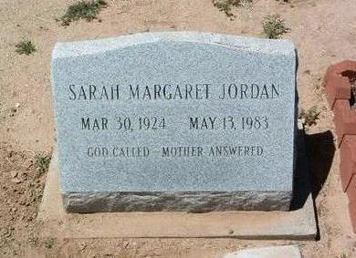 JORDAN, SARAH MARGARET - Yavapai County, Arizona   SARAH MARGARET JORDAN - Arizona Gravestone Photos
