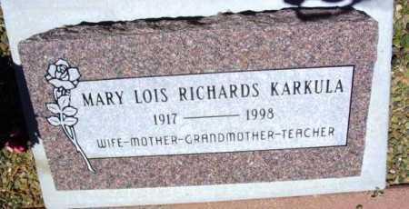 KARKULA, MARY LOIS - Yavapai County, Arizona   MARY LOIS KARKULA - Arizona Gravestone Photos