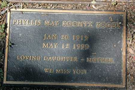 KOONTZ KOGER, PHYLLIS M. - Yavapai County, Arizona   PHYLLIS M. KOONTZ KOGER - Arizona Gravestone Photos